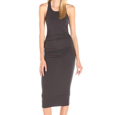 Michael Stars Womens Dress Gray Size Small S Ruched Scoop Neck Maxi