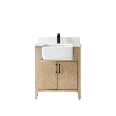 """Sevilla 30"""" Vanity in Washed Ash with Countertop Without Mirror"""