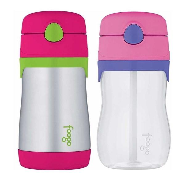 Thermos Foogo 10 oz Straw Bottle (Pink/Green) & 11 oz Bottle (Pink/Purple)
