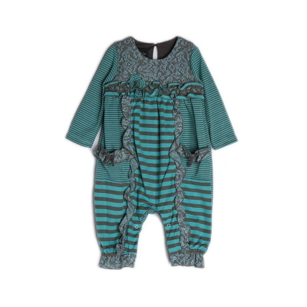 Isobella & Chloe Baby Girls Turquoise Striped Lace Morning Sky Ruffle Romper