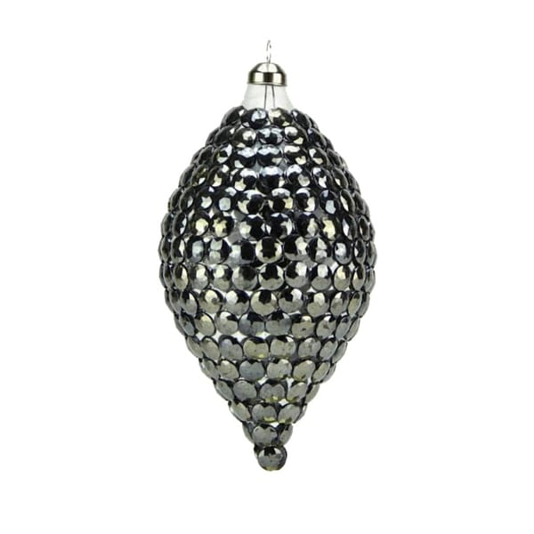 "6.25"" Winter Light Elegant Gun Metal Gray Rivet Gem Glass Finial Christmas Ornament"