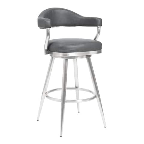 Amador Barstool in Brushed Stainless Steel and Vintage Grey Faux Leather