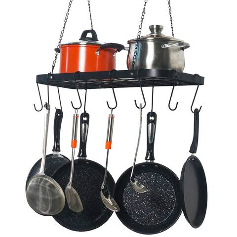 Pot Rack Ceiling Mount Cookware Rack Hanging Hanger Organizer with Hooks