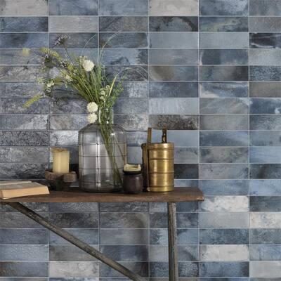 """SomerTile Kings Raku Blue 16"""" x 8"""" Ceramic Wall Tile"""