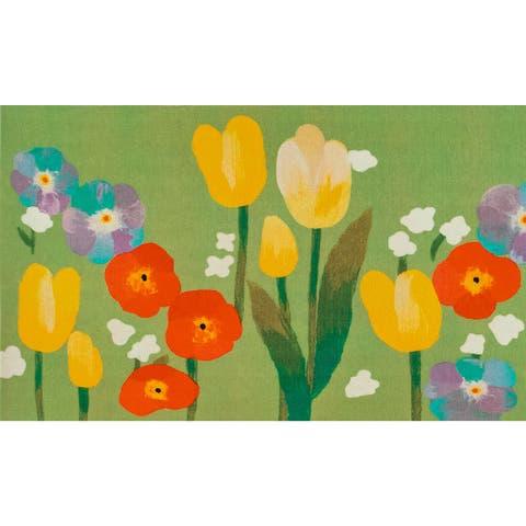 "Liora Manne Illusions Le Jardin Indoor/Outdoor Mat Green 1'7"" x 2'5"""