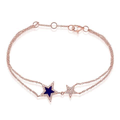 Star Bracelet Lapis & Diamond 14K Rose Gold by Joelle Collection