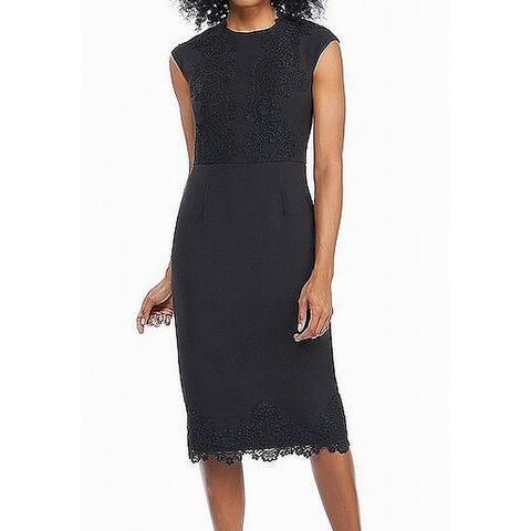 Maggy London Black Floral Lace Cap Sleeve Women's 6 Sheath Dress