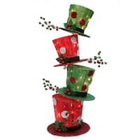 """44"""" Pre-lit Stacked Red and Green Christmas Hats Outdoor Decoration"""