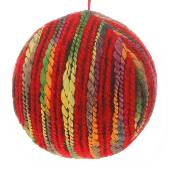"5"" Bohemian Holiday Colorful Yarn Christmas Ball Ornament"