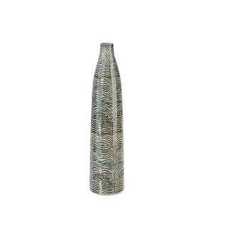 Bottle Shape Ceramic Vase Designer Pattern, Medium, Gray and White