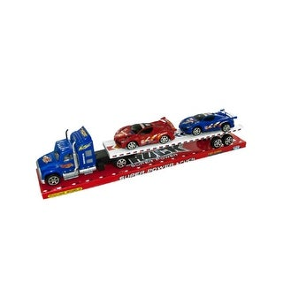 Daily Basic Kids Indoor and Outdoor Play Realistic Friction Powered Semi Truck and Race Cars Set - Assorted Colors