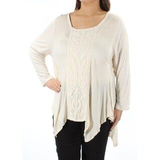 Womens Ivory Floral Long Sleeve Scoop Neck Handkerchief Top Size XL