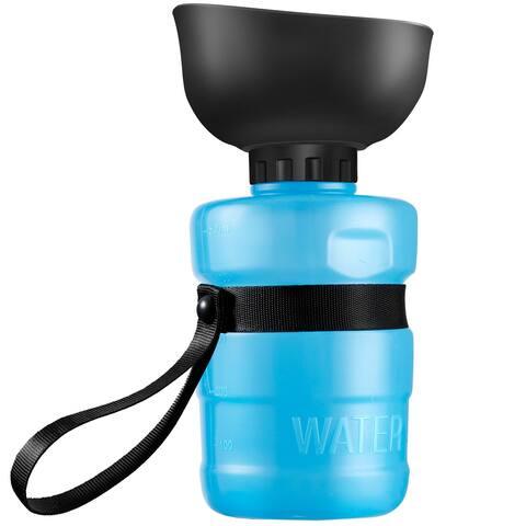 LANGRIA Portable 2 in 1 Dog Water Bottle, Foldable Pet Water Bottle & Silicone Bowl, Leak-proof Lightweight Drinking Bottle