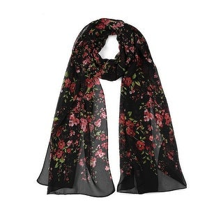 """Link to Long Chiffon Beach Scarf Silk Scarves Floral Scarves for Women Black - 63""""x20"""" Similar Items in Scarves & Wraps"""