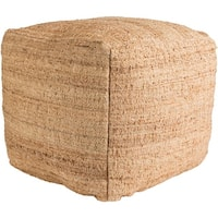 """18"""" Sandy Brown Woven Square Indoor Pouf Ottoman with Knife Edge"""