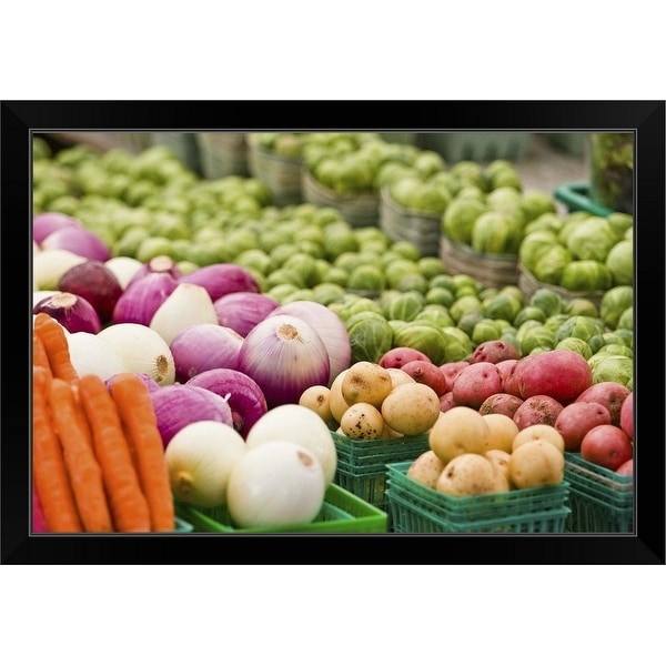 """Vegetable stand"" Black Framed Print"