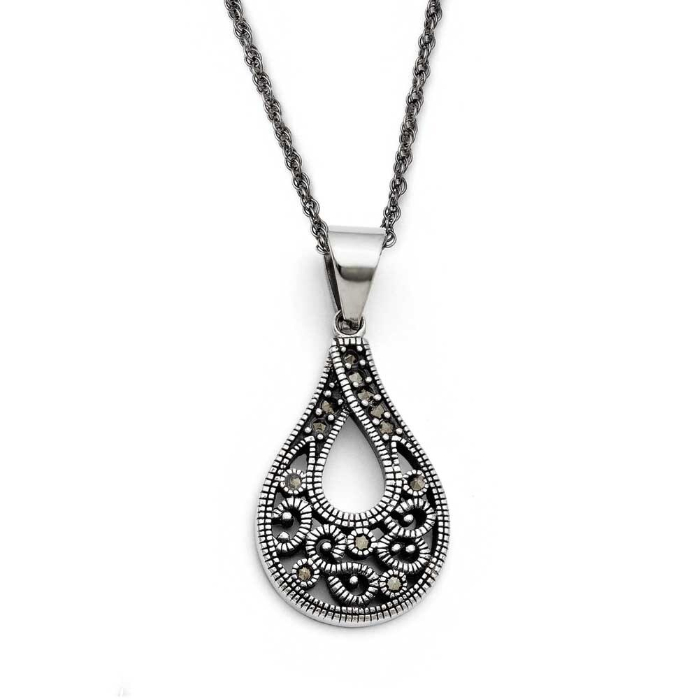 """Chisel Stainless Steel Marcasite Textured Circle Pendant with 20/"""" Necklace"""