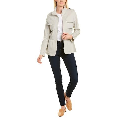 T Tahari Mock Neck Linen-Blend Jacket