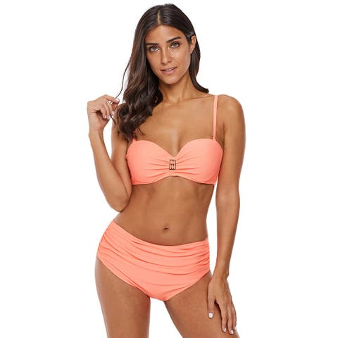 Cali Chic Women's Swimsuit Celebrity Peach Full Coverage Molded Cup Halter High Waist Two Piece
