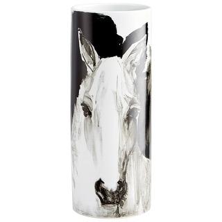 "Cyan Design 09873  Spirit 7"" Diameter Ceramic Vase - Black / White"