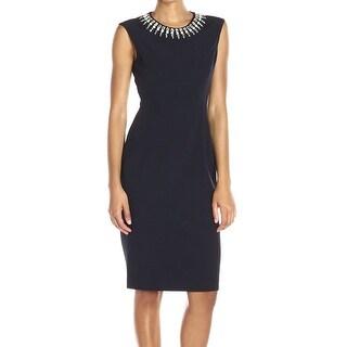 Vince Camuto NEW Blue Womens Size 6 Beaded Neckline Sheath Dress