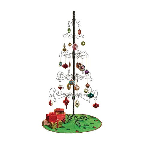 """Wrought Iron Christmas Ornament Display Tree - 83"""" - Black - 35 in. x 83 in."""