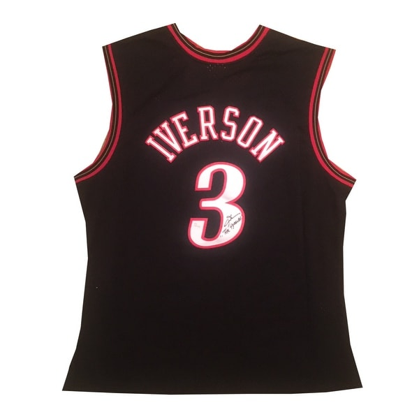 53ab6cbb2 Allen Iverson Autographed Philadelphia 76ers Signed Mitchell Ness Swingman  Jersey ANSWER JSA COA