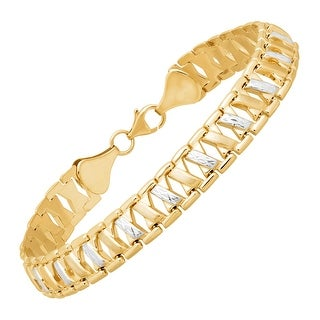 Just Gold Stamped 'X' Link Bracelet in 14K Gold - Two-tone