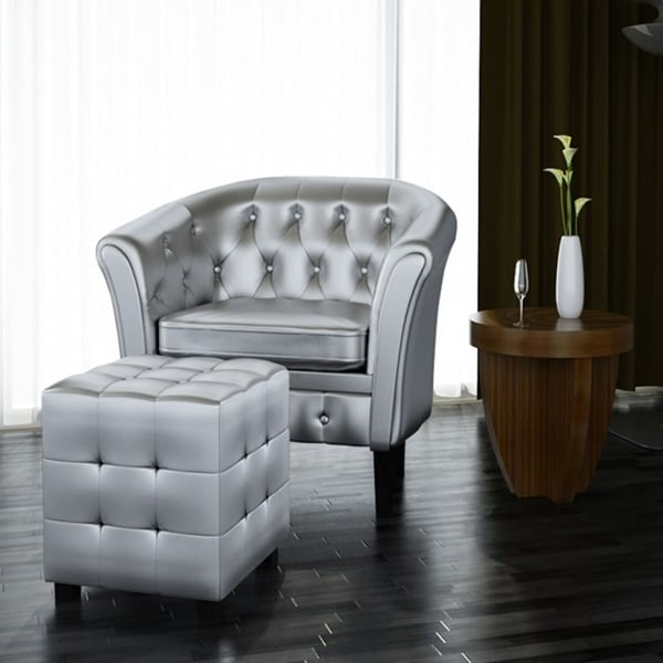 vidaXL Artificial Leather Tub Chair Armchair with Footrest Silver