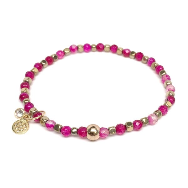 "Fuchsia Quartz Friendship 7"" Bracelet"