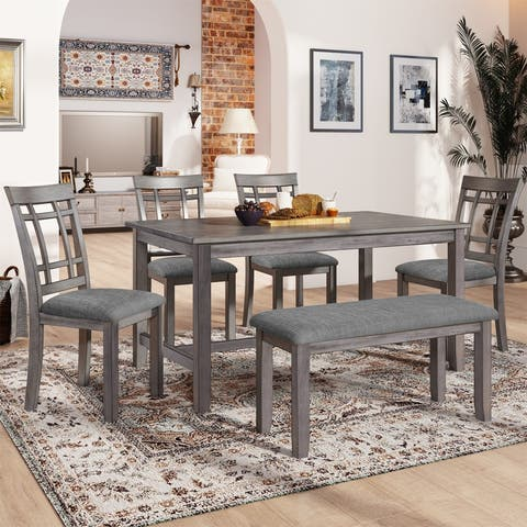 6 Pcs Wooden Dining Table set, Kitchen Table set w/ 4 Chairs&1 Bench