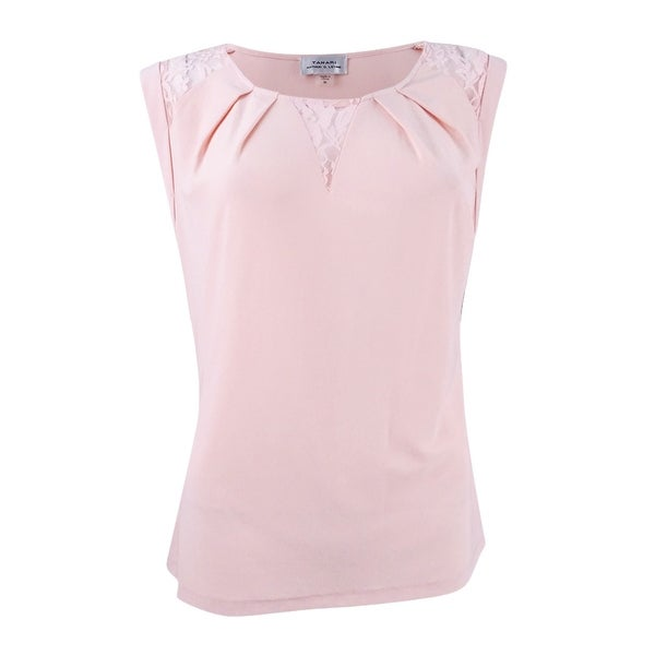 3acf8604ca9 Shop Tahari ASL Women s Plus Size Cap-Sleeve Lace-Trim Top - Petal Pink -  2x - Free Shipping On Orders Over  45 - Overstock.com - 22251250