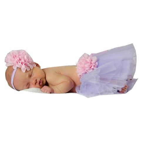 Girls Pink Lavender Flower Tutu Skirt Headband Set 0-8Y