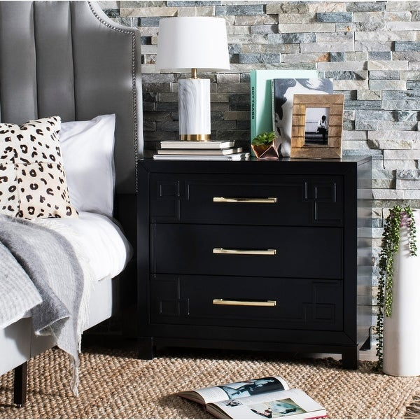 Safavieh Raina 3 Drawer Chest - Black / Gold