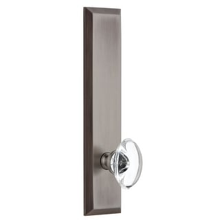 Grandeur FAVPRO_TP_PRV_234_RH  Fifth Avenue Solid Brass Tall Plate Right Handed Privacy Door Knob Set with Provence Crystal Knob