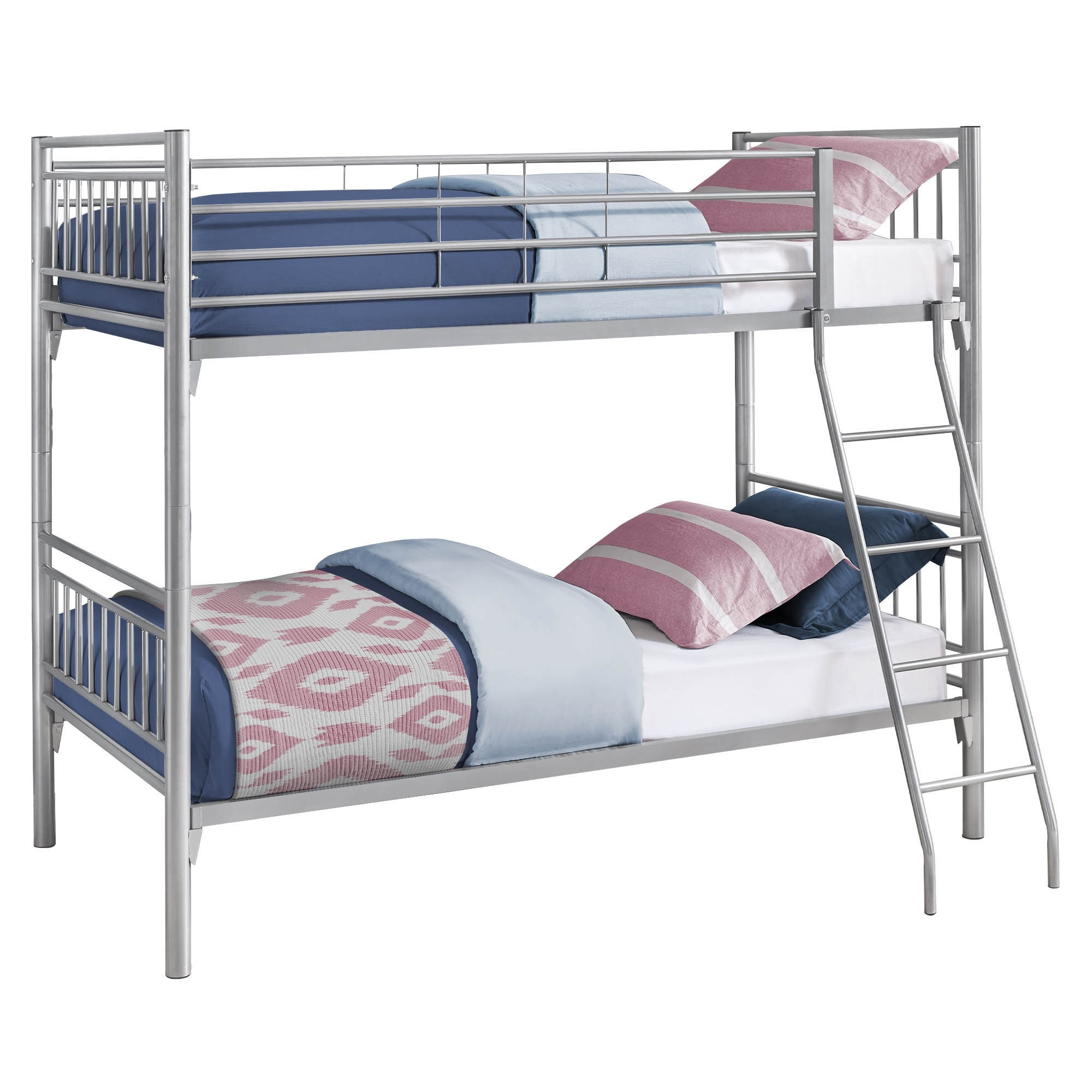 Offex Contemporary Bunk Bed Twin Twin Size Detachable Silver Metal On Sale Overstock 31484169