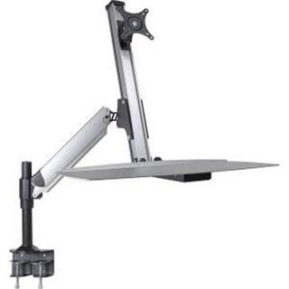 Doublesight Ergonomic Single Monitor Sit / Stand Lift Arm With Key Board Tray, Desk Mount (Ds-Ergo-100)