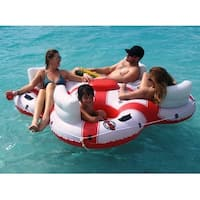 """78"""" Solstice Super Chill Quatro 4-Person Inflatable Swimming Pool Float with Cooler - White"""
