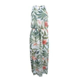 Connected Women's Petite Printed Chain-Link Maxi Dress - Ivory
