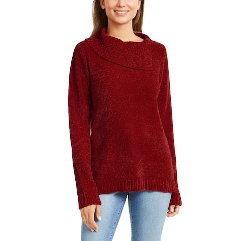 Karen Scott Women's Envelope-Neck Chenille Sweater Medium Red Size Petite Small - Petite Small