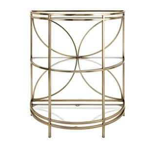 "34.5"" Metal and Glass ""Teagan"" Petal Design Console Table"