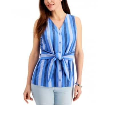 Charter Club Women's Striped Tie-Waist Top Blue Size X-Small