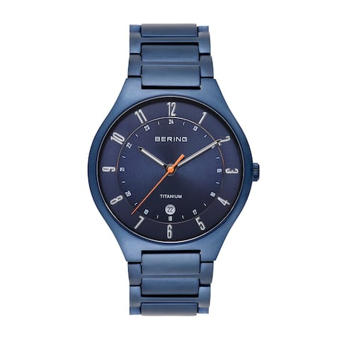 BERING Mens Titanium Blue Case & Blue Titanium Strap Watch
