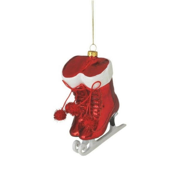 "4.75"" Alpine Chic Red and White Glittered Ice Skates with Pom Poms Christmas Ornament"