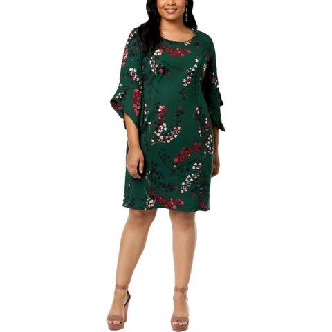 Taylor Womens Plus Casual Dress Floral Print Bell Sleeves