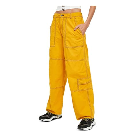 FREE PEOPLE Womens Gold Zippered Cargo Pants Size 4