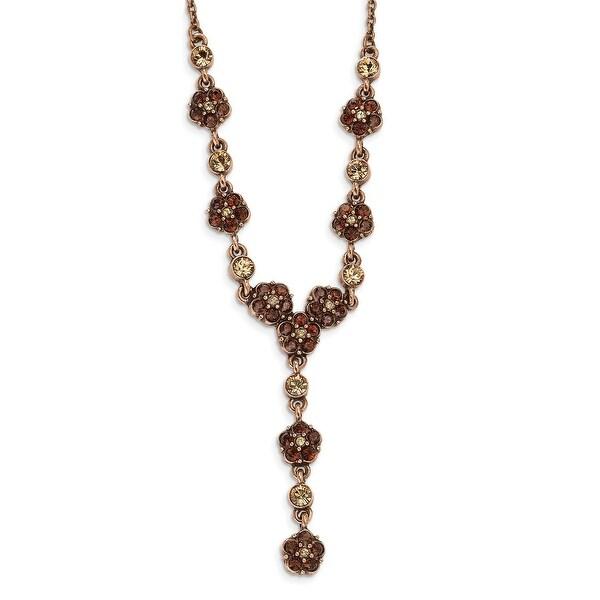 Copper Lt. Colorado & Brown Crystal Y Necklace - 15in