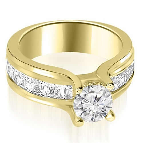 1.75 cttw. 14K Yellow Gold Channel Round and Princess Diamond Engagement Ring
