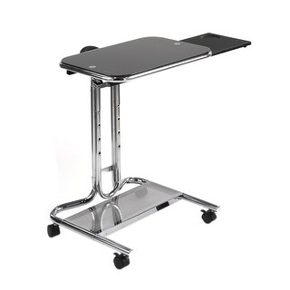 Offex Laptop Cart with Mouse Pad - Chrome/Black Glass