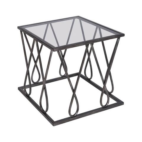 Dudley Leys - 20 Inch Accent Table Graphite Finish with Black Glass